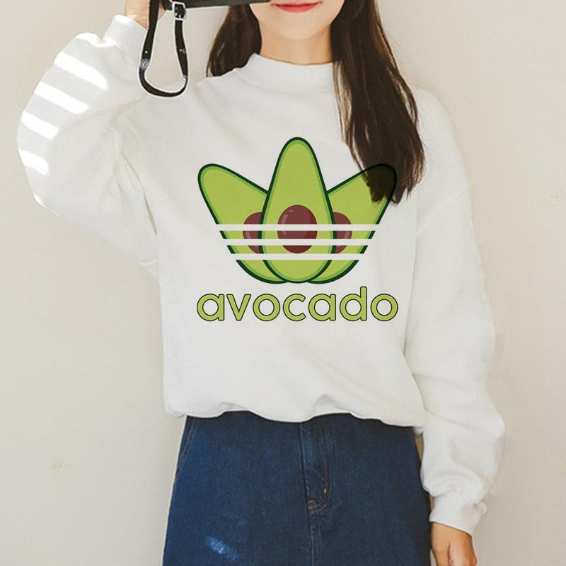 Avocado Harajuku Ullzang Kleine Frische Warme Hoodies Frauen Vegan Kawaii Cartoon Print Sweatshirts 90s Grafik Mode Hoody Weibliche