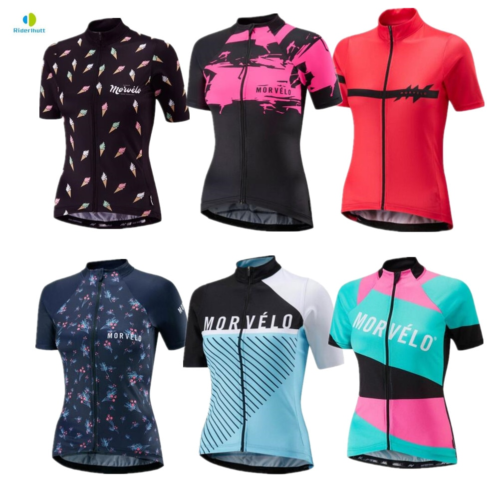 Morvelo-Camiseta de manga corta para mujer, camiseta de verano para ciclismo de montaña o de carretera, Ropa para deportes al aire libre