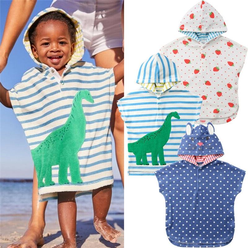 2019 Baby Hooded Cartoon Bath Towel Poncho Children Kids Bathrobe Towels Bath Robe Quick Dry Absorbent Travel Sports Beach Towel