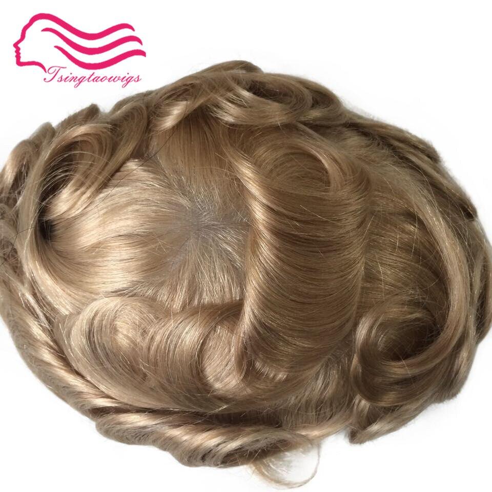 Tsingtaowigs, ultra fino pele masculino toupee 0.02-0.04mm, substituição do cabelo, cor 22r europeu remy cabelo mentoupee freeshipping