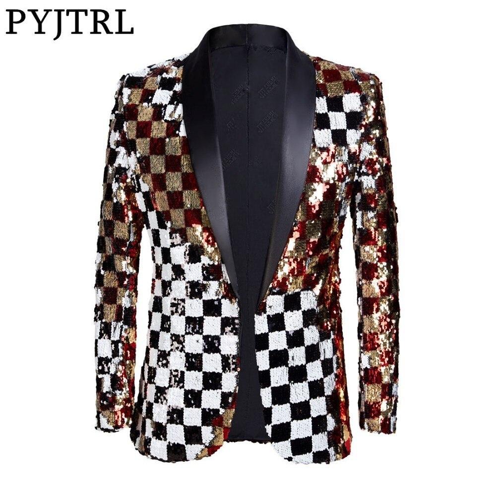 Pyjtrl marca nova masculino dupla face colorido xadrez vermelho ouro branco preto lantejoulas blazer design dj cantor terno jaqueta moda roupa
