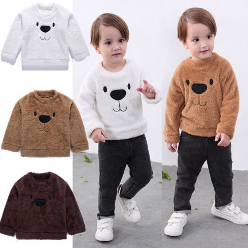 Toddler Kid Baby Boy Sweaters Tops Warm Cartoon Coral Fleece Bear Shirt Jumper Winter Autumn Long Sleeve Sweaters Clothes