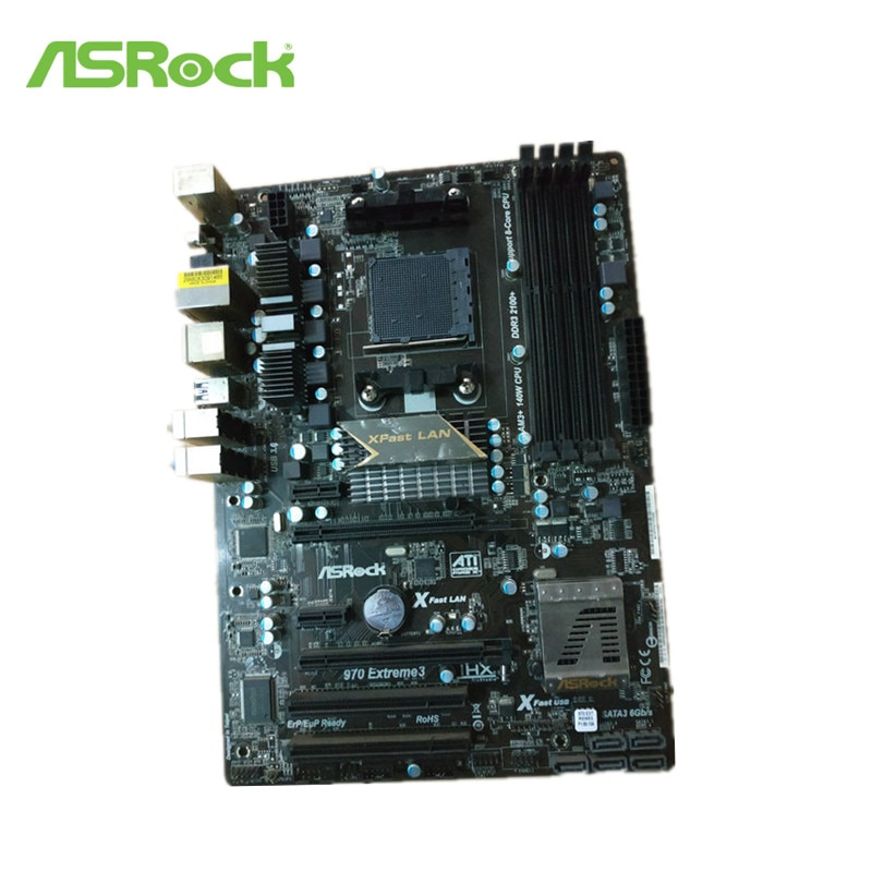 Ordenador de sobremesa Original usado ASRock 970 Extreme3 para el zócalo de la placa base AMD 970 AM3 AM3 + DDR3 SATA3 USB3.0