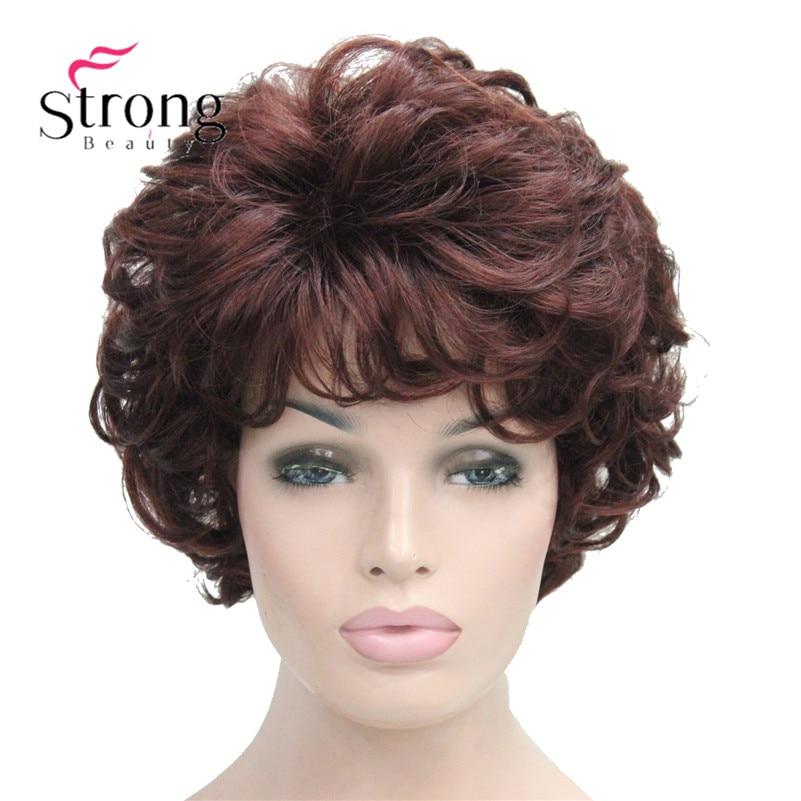 قصيرة لينة أشعث تجعيد الظلام أوبورن كامل بيروكات صناعية المرأة شعر مستعار اللون الخيارات