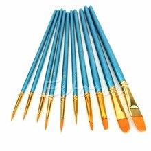 Pinceau acrylique aquarelle à bout pointu   10 pièces/ensemble, brosses à peinture en Nylon pour artistes, fournitures de peinture C42