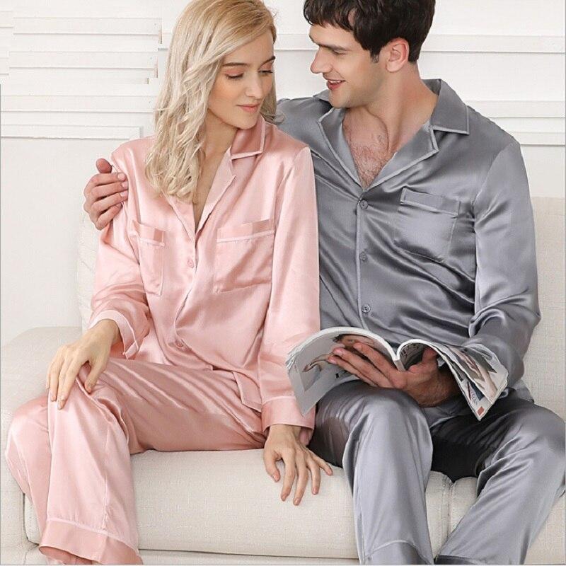 Couple Pajamas Silk Stain Sleepwear Summer Women 2019 Pyjamas sexy plus size Pink long sleeve top and pants pijama set nightwear