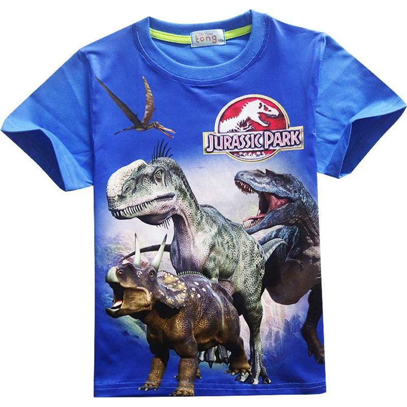 Boys T-Shirt Cartoon Jurassic Park clothes Kids Jurassic World Dinosaur print tshirt garcon tops Baby Boys Short Sleeve Clothing