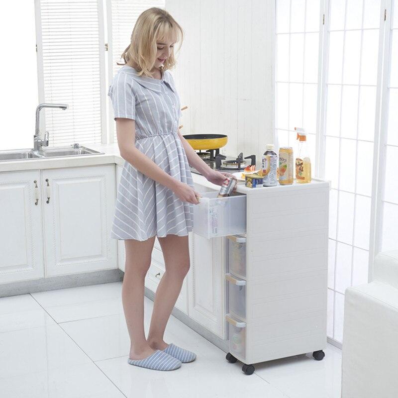 Seam storage cabinet kitchen side corner bathroom locker stackable drawer refrigerator narrow slit rack ZP01171056