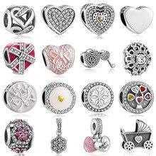 Nova qualidade superior 925 prata charme contas com cristal completo ajuste original pandora pulseira pingentes para jóias femininas