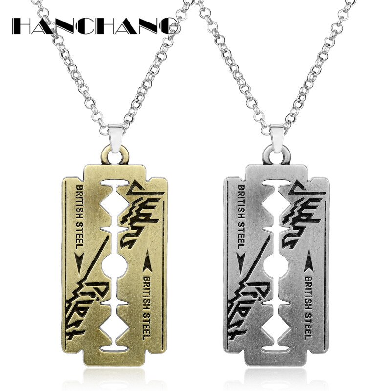 Men Hip Hop Jewelry Pendants Necklaces Music Band Judas Priest Jewelry Razor Blade Necklace with Chain 50cm