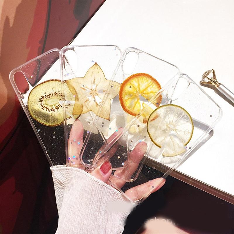 Real Obst Getrocknete Zitrone Fall Für iPhone 11 Pro X XR XS Max 6 6S 7 8 plus Volle stern Shinning Glitter Klar Weichen TPU Telefon Abdeckung