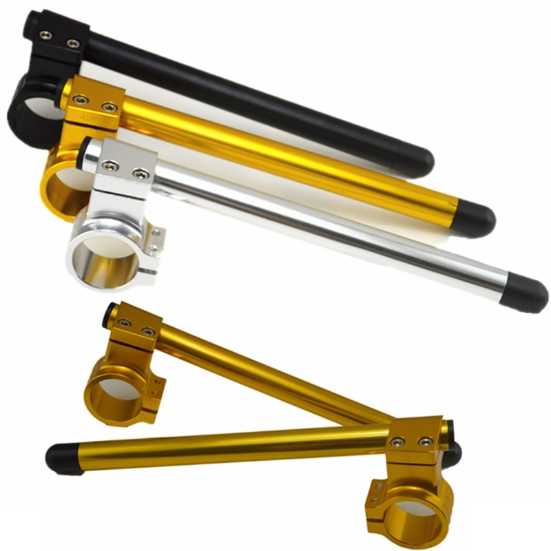 2x Barra de manillar Universal para carreras de motos CNC ajustable 37/41/45/48/50mm Clip On Ons Riser