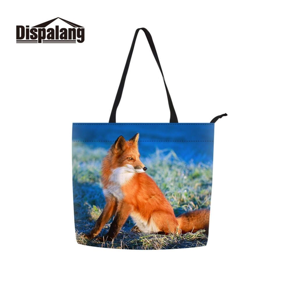 Dispalang Aceitar Personalizado Foto Fox Impresso e Personalizar Material 100% Eco Tamanho Grande Saco de Compras da Menina para Senhoras