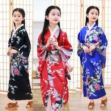 Filles paon Yukata vêtements japonais Kimono robe enfants Yukata Haori Costume traditionnel japonais Kimono Costume Cosplay