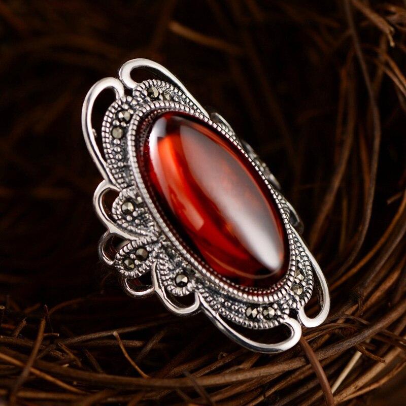 Real pura 925 anillos de plata para las mujeres exagerado gran anillos para las mujeres piedras granates naturales hueco ajustable joyería fina