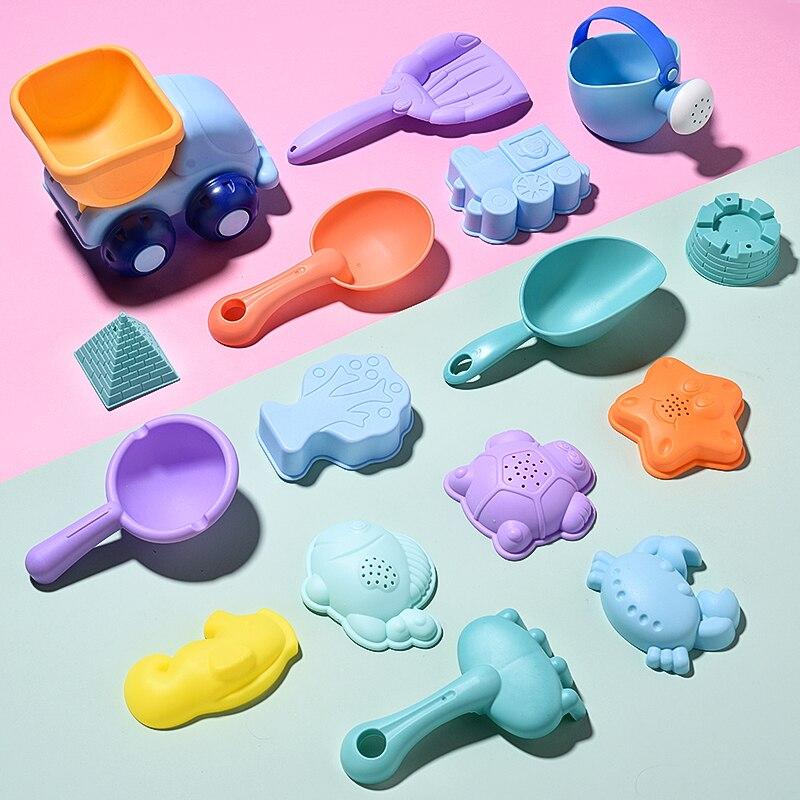 Juego de 9-26 Uds de juguetes de playa para niños, juego de baño para niños, pala de cubo de plástico suave de arena marina, molde de juego de agua y juego de Verano Divertido
