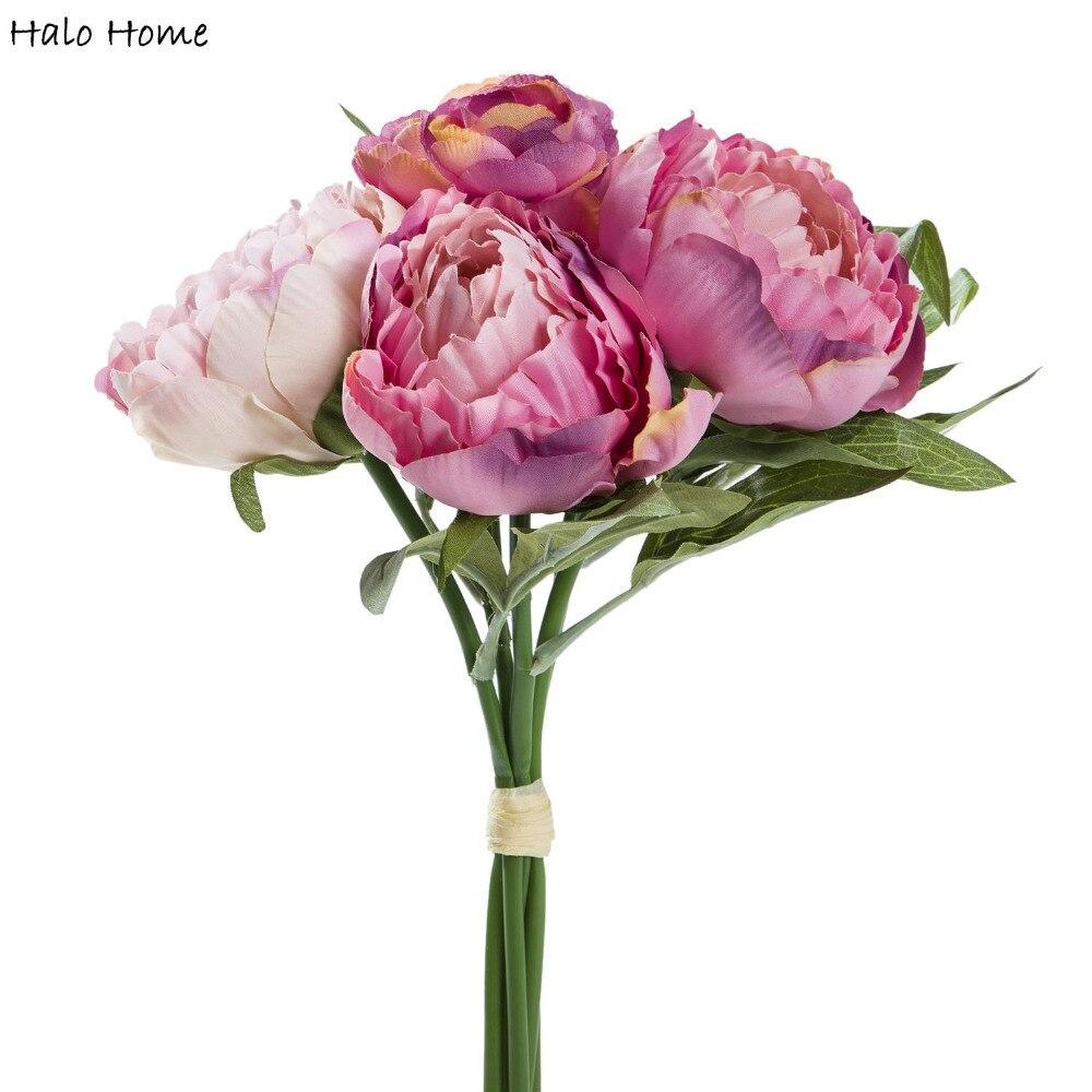 1 ramo de flores artificiales de seda peonía ramo fit Festival Oficina fiesta hogar jardín boda novia conmemoración día decoración 31 cm