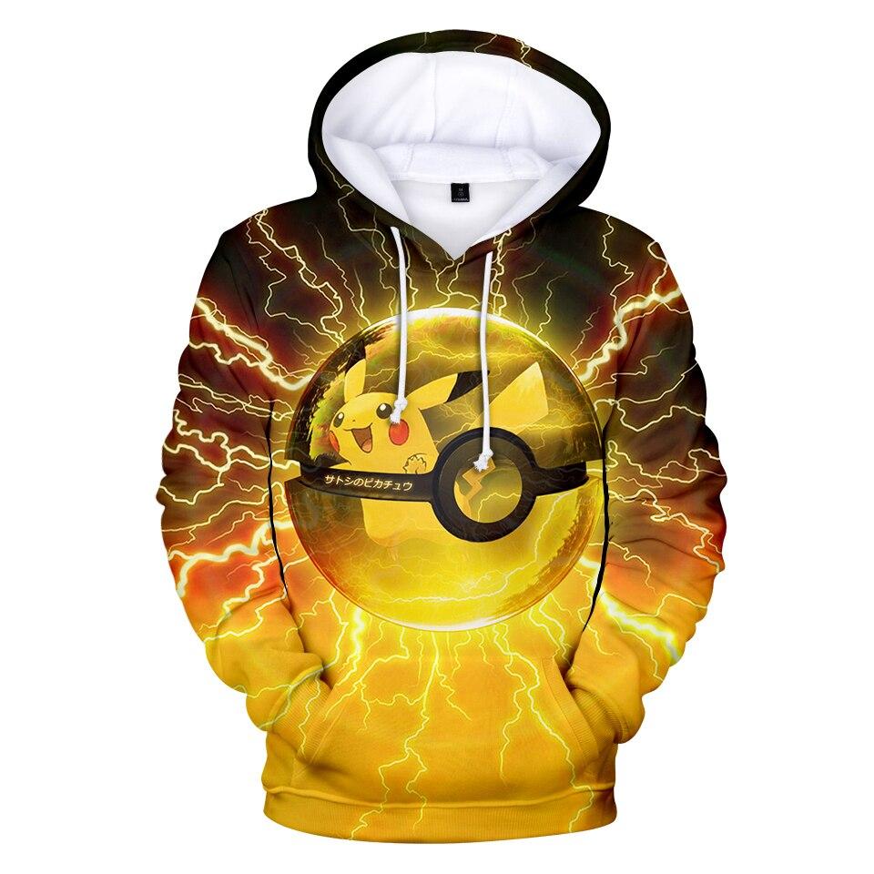 Polemon, ropa caliente, chaqueta de Pikachu, sudadera con capucha de otoño e invierno, unisex, pareja, Padre, Hijo, juego de rol, fácil de combinar