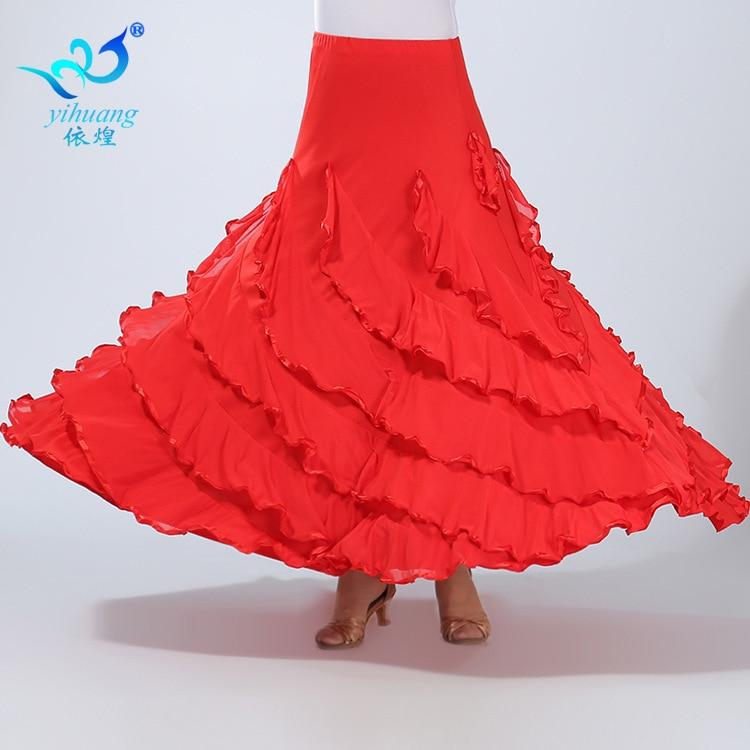 Falda de baile de salón de baile femenina moderna para niñas, trajes de baile Social cuadrados para mujeres, Falda de baile Sumba para mujeres, D-0039
