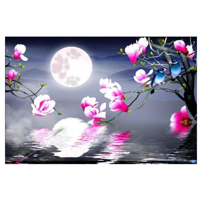 """5D Diy Diamante bordado """"Moon flower and bird"""" do Ponto da Cruz pintura diamante praça cheia, puzzle, home decor Y2974"""