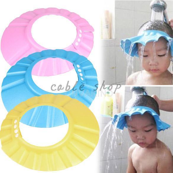 Free shiping Adjustable Convenient  Elastic Baby Shower Cap Children Shampoo Bath Wash Hair Shield Hat