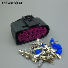 Shhworldsea 2 Conjunto Conector 14Pin Xenon Lâmpada Do Farol Do Carro faróis de xenônio Auto lâmpada soquete 1J0973737 Para VW Golf MK6 Skoda
