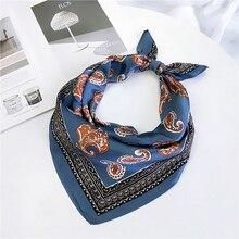 4 cores boho multifunction bandana lenço quadrado para mulher/homem moda accessoires seda-como lenço de cabelo saco lenço 60*60cm