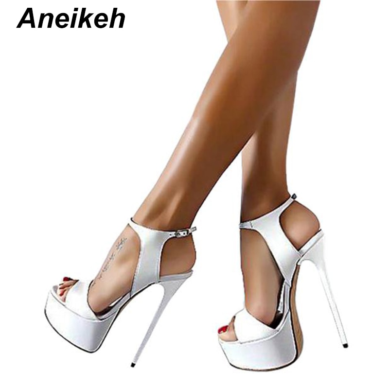 Aneikeh gran zapato tamaño 41 42 43 44 45 46 Sandalias de tacón alto verano Sexy abierto vestido de fiesta 16CM zapatos gladiador mujer plataforma