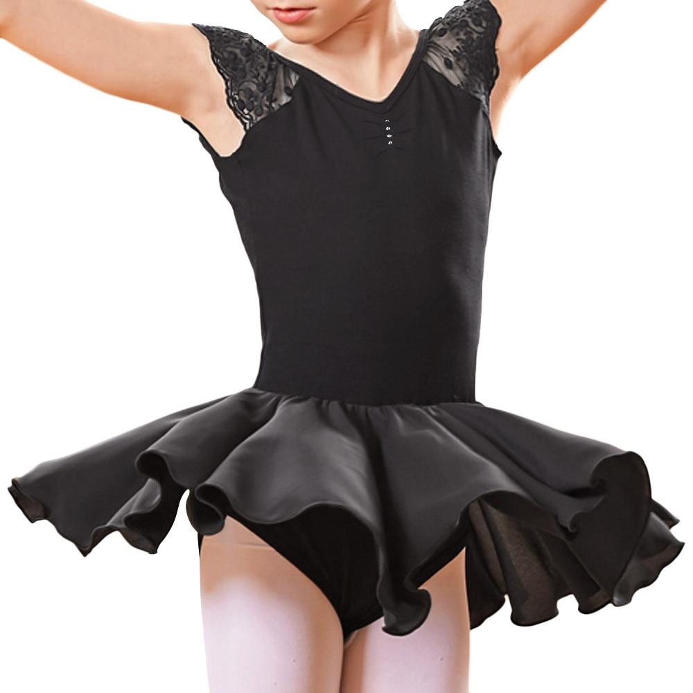 BAOHULU Teen Kids Girls Party Tulle Ballet Dance Wear Short Sleelve Back Cross Dancing Tutu Dress Ballerina Costume Dancewear