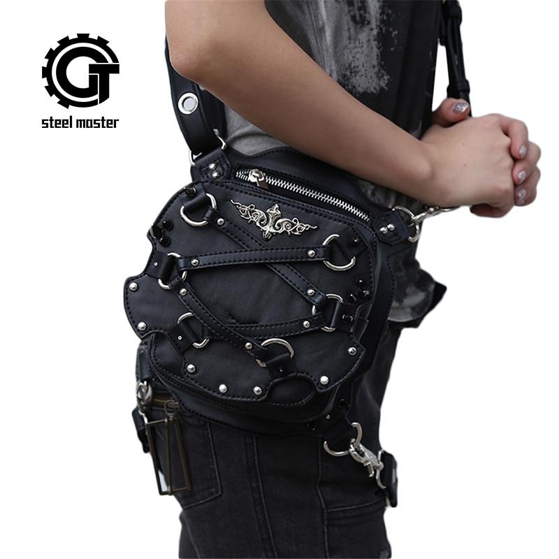 Bolso Steampunk Mini de cintura para mujer, bolsos de pierna para motocicleta, negro gótico de cuero PU, pequeño bolso cruzado con soporte para funda de teléfono