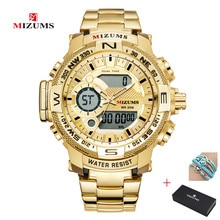 2019 MIZUMS Mens Sport Watch Luxury Men Gold Quartz Analog LED Clock Full Steel Business Waterproof Watches Relogio Masculino