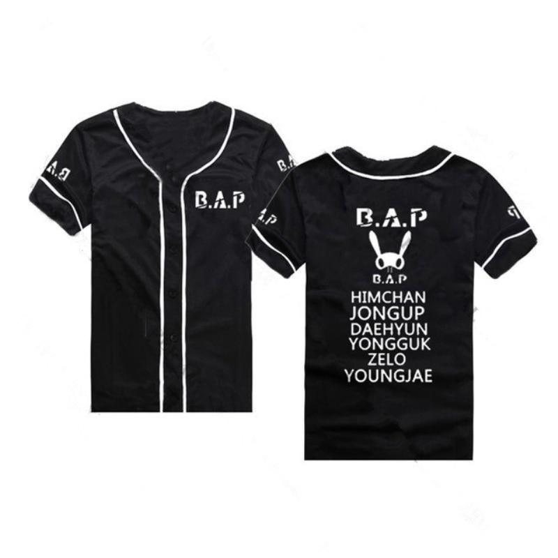 Mainlead Kpop T-Shirt EXO Baseball Uniform Monsta X GOT7 IKON BAP Blackpink Männer Frauen Unisex