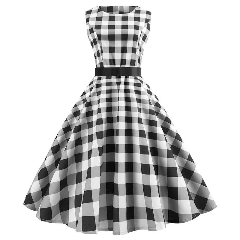 Plaid Vintage vestido Plus tamaño mujeres Vestidos Hepburn 50 s 60 s Elegante fiesta Kleider Casual Rockabilly Pin Sommerkleid