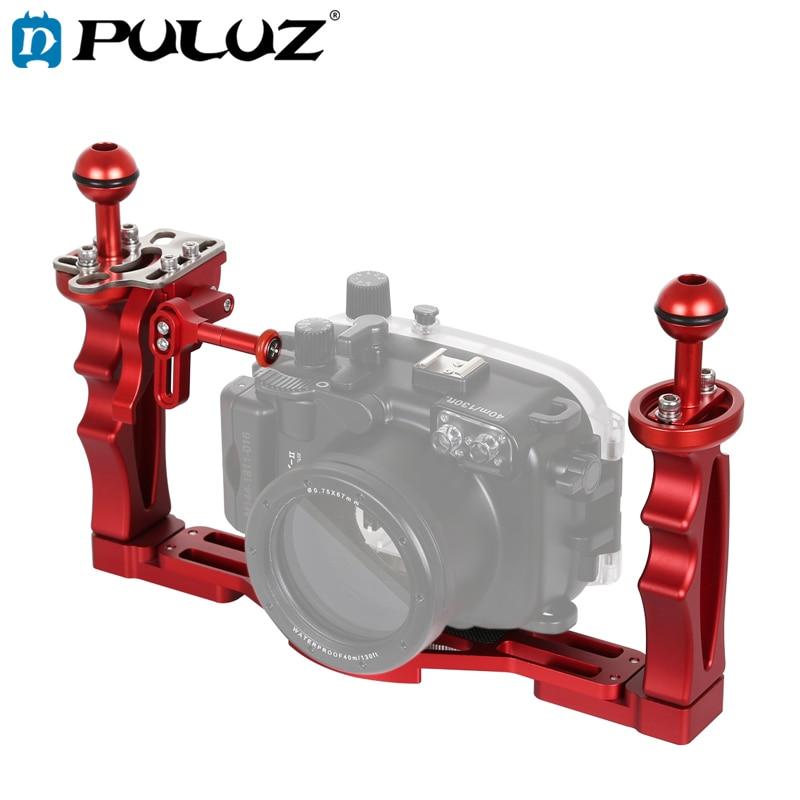 PULUZ Dual Handles bandeja estabilizador con disparador de liberación extensión adaptador soporte de palanca para cámaras subacuáticas