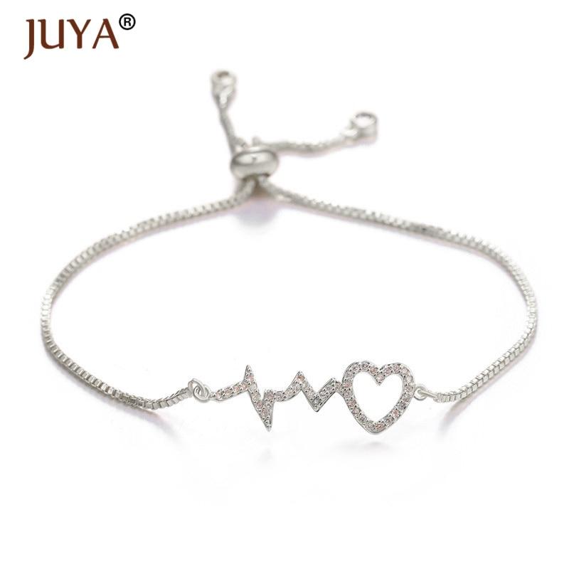Nuevas Pulseras de Ecg de corazón Simple para mujeres Pulseras Mujer amor frecuencia Pulseras fiesta boda regalo Mujer joyería de moda