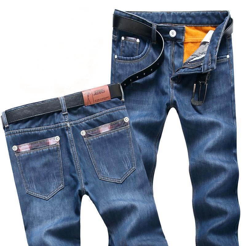 Мужские джинсы с флисовой подкладкой, синие эластичные теплые джинсы, облегающие дизайнерские джинсы, Молодежные джинсы, размеры 28-38, для зи...