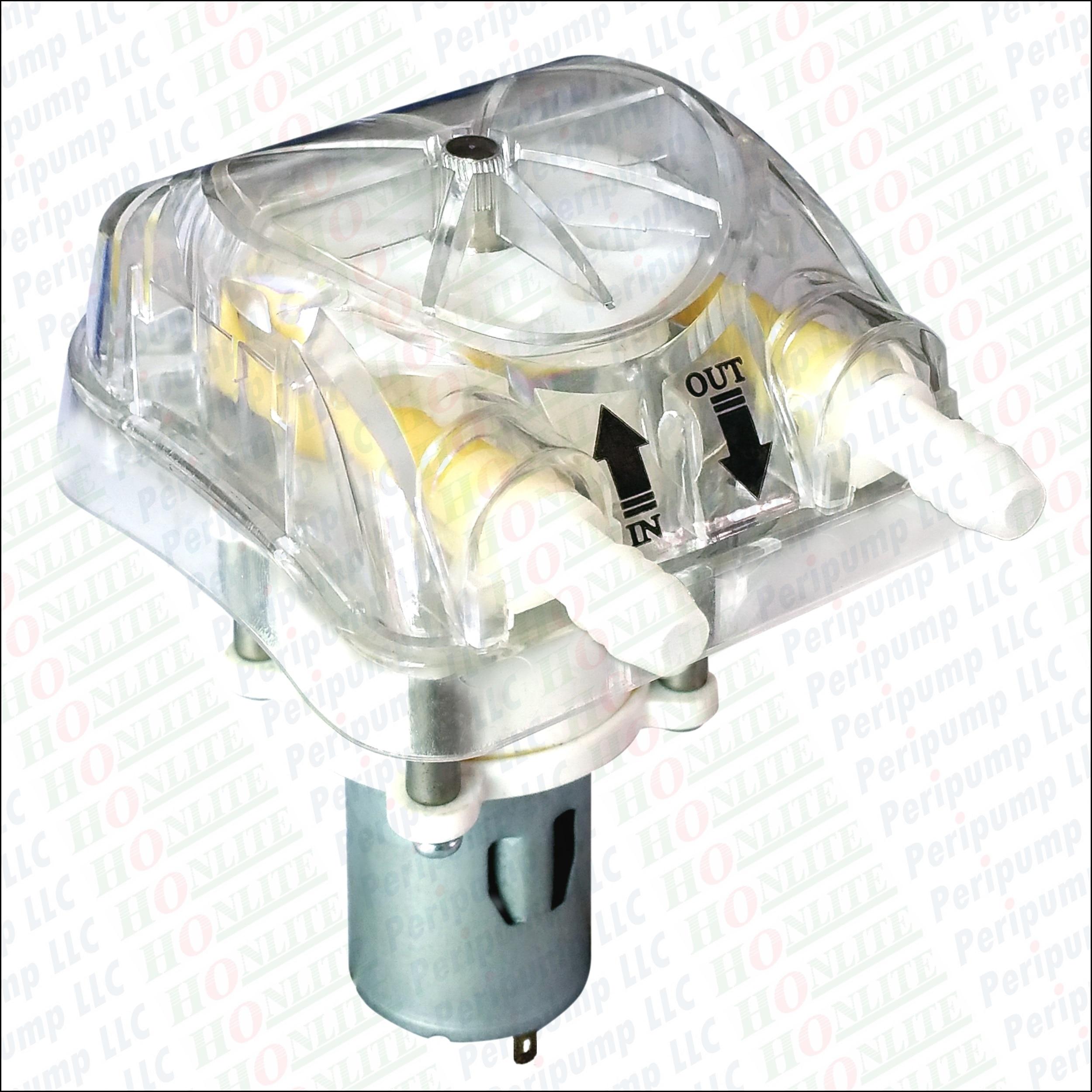 Перистальтический насос 1000 мл/мин., 30psi, 12Vdc, сменная насосная насадка в прозрачной и перистальтической трубке