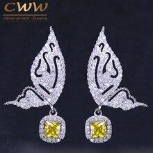 CWWZircons-pendientes de circonia cúbica para mujer, aretes de gota con forma de mariposa voladora, alfiler de plata esterlina 925, color amarillo y azul, CZ191