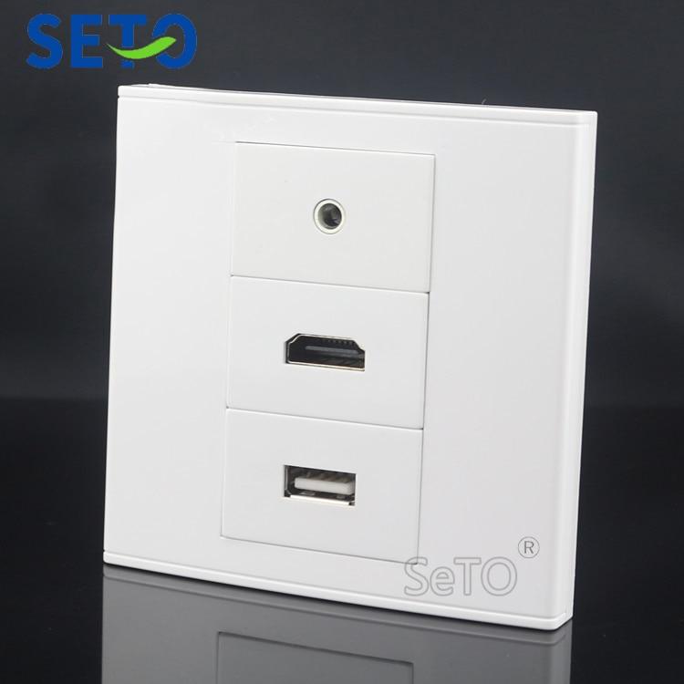 SeTo 86 Тип 3,5 мм наушники + HDMI + USB разъем настенная пластина разъем Keystone Лицевая панель