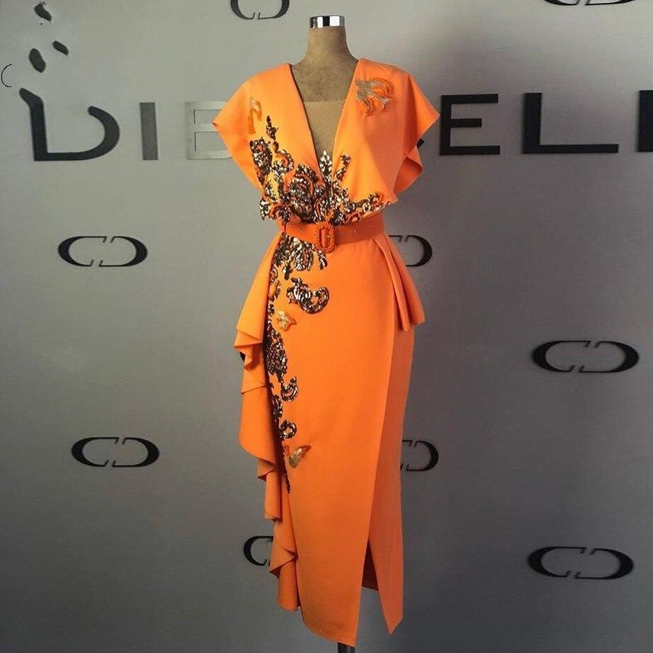 Vestido de noche elegante longo, vestido Formal de noche con lentejuelas, vestido de noche largo a media pierna con manga de tapa naranja, vestido de noche abiye
