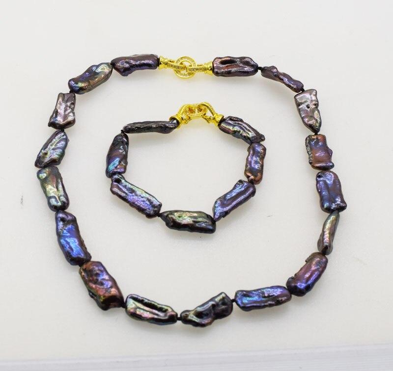 Un conjunto negro biwa agua dulce perla reborn keshi collar pulsera 17 pulgadas 7,5 pulgadas al por mayor cuentas de naturaleza