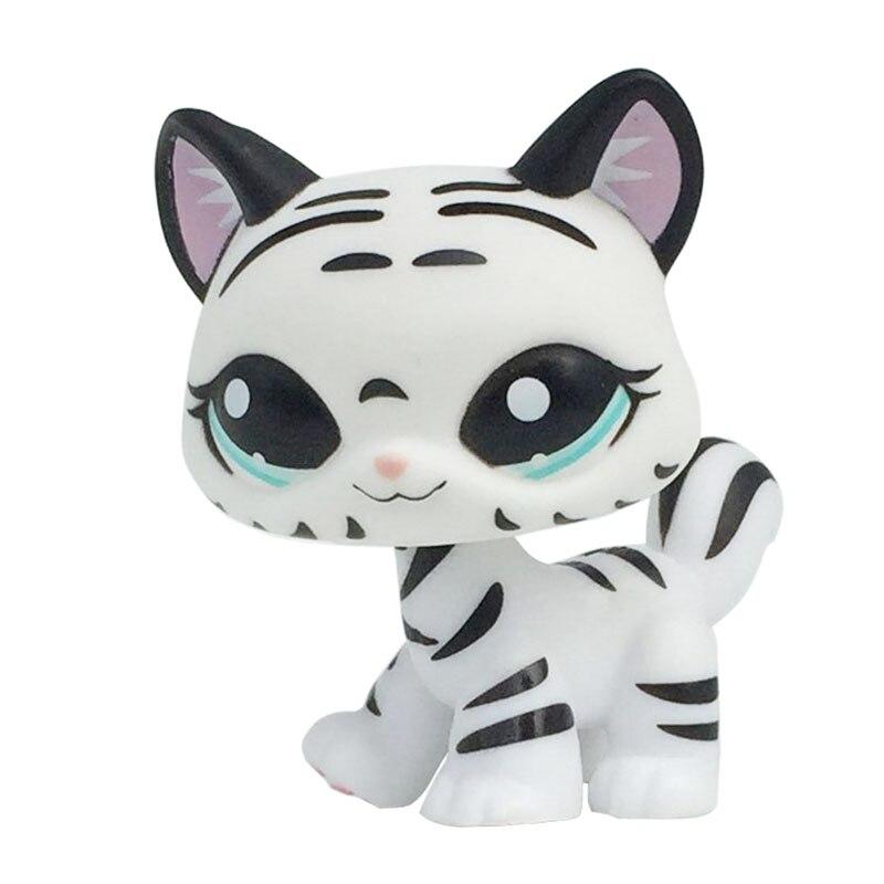 Raro pet shop bonito brinquedos em pé preto & branco listrado gato tigre kitty olhos azuis collectible presentes coleção para meninas
