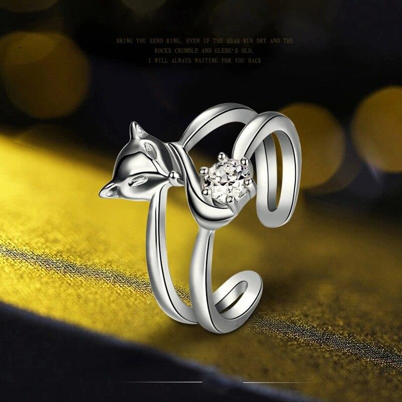 Anillos de zorro con personalidad chapados en plata de estilo Simple para mujer, joyería de moda con doble capa de cristal, anillo de dedo de tamaño ajustable abierto
