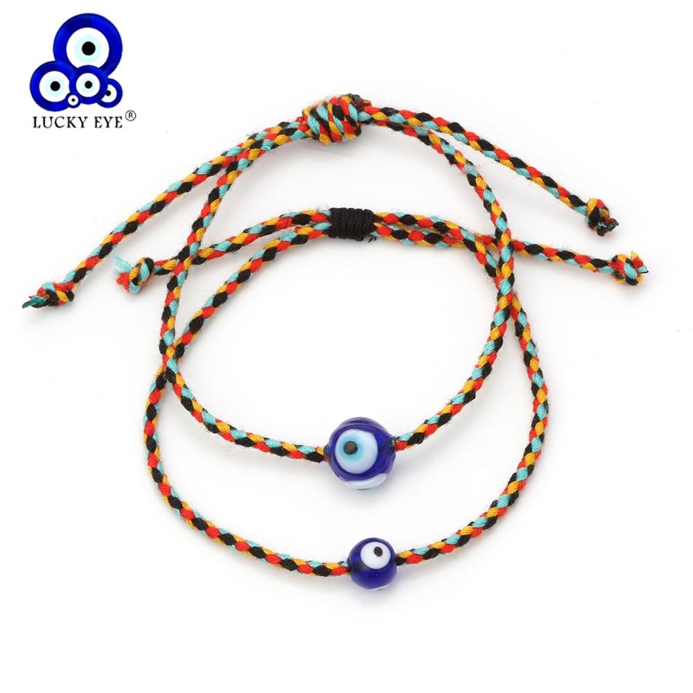 Lucky Evil New Arrival Blue Eye Bracelets 2 Style Handmade Braided Rope Turkish For Women Girls Female Jewelry  EY6201