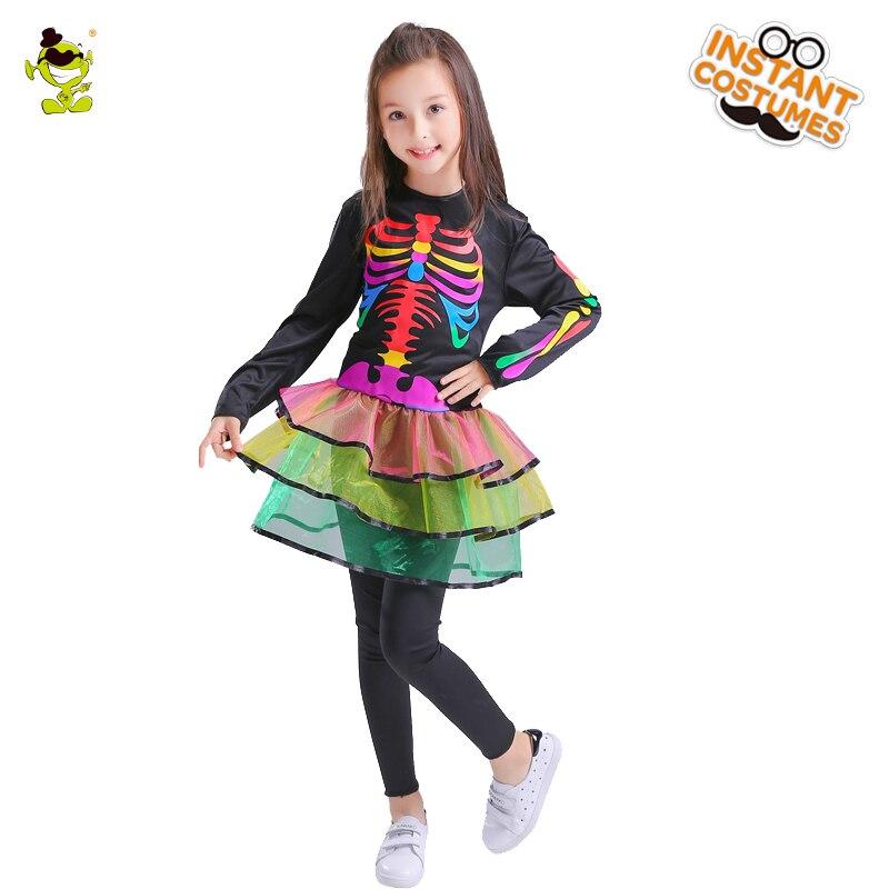 Vestido Popular de esqueleto colorido para chicas, disfraces de cosplay con estampado de Bones de color, vestido bonito de calavera para fiesta de Halloween para niñas
