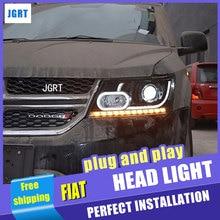 Style de voiture pour Fiat Freemont phare LED assemblage JCUV phares LED DRL lentille Double faisceau H7 avec kit hid 2 pièces.