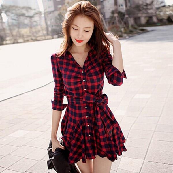 2019 Women Retro Long Sleeve Dress Red Plaid Lapel V Neck Shirt Dress With Belt Plus Size