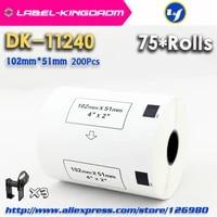 75 refill rolls compatible dk 11240 label 102mm51mm 600pcs compatible for brother label printer ql 10501060 white paper dk1240