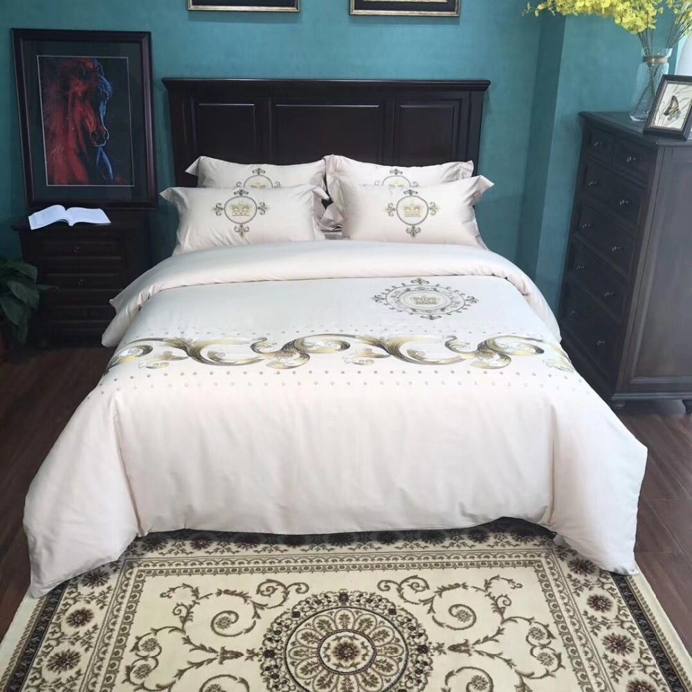 Juego de cama de lujo 80S de algodón egipcio bordado para boda, Juego de 4 Uds. De funda de edredón Queen King, funda de almohada de color blanco y dorado con flores