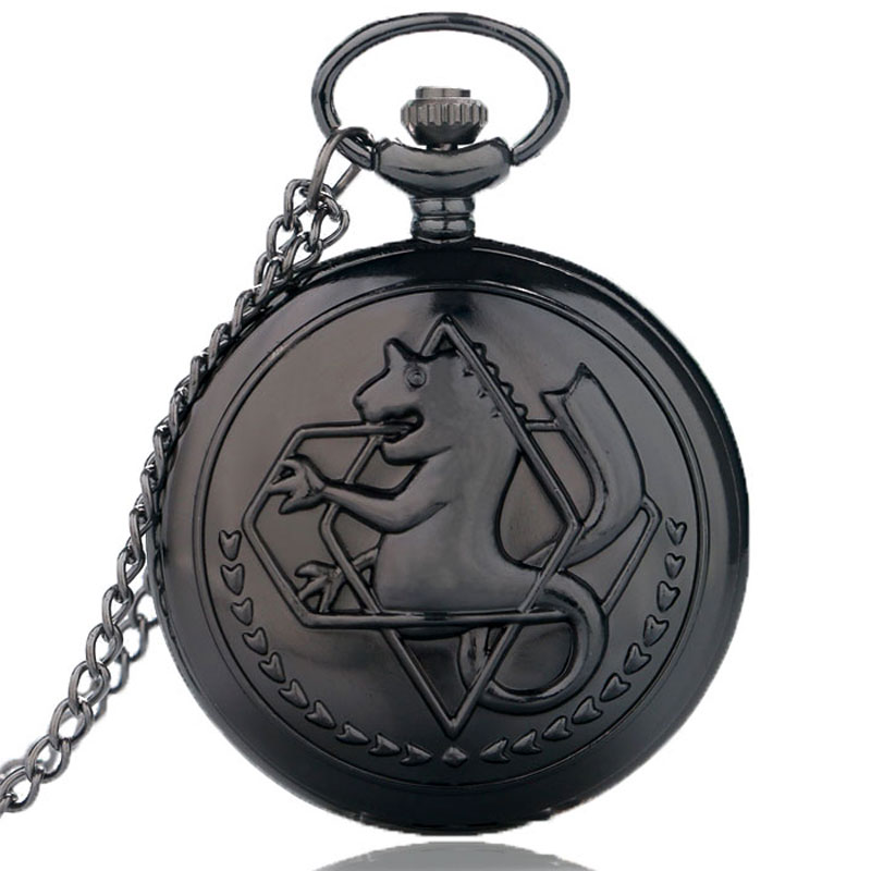 New Fashion Black Fullmetal Alchemist Quartz Pocket Watch Cosplay Edward Elric with Chain Anime Boys Mens Gift Wholesale
